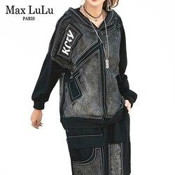 Max LuLu Роскошные Корейские осенние женские панк топы и штаны для женщин деним комплект из двух предметов с капюшоном печатные наряды Винтаж к...