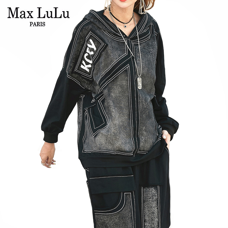 Max LuLu Luxury Korean Autumn Ladies Punk Tops And Pants Women Denim Two Piece Set Hooded Printed Outfits Vintage Club Tracksuit