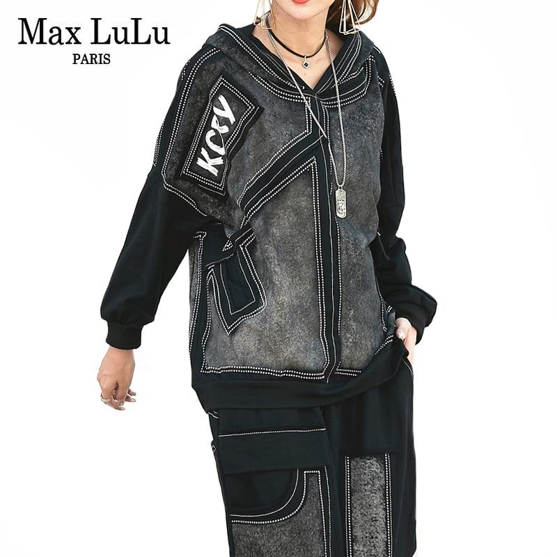 Max LuLu luxe coréen automne dames Punk hauts et pantalons femmes Denim deux pièces ensemble à capuche imprimé tenues Vintage Club survêtement-in Ensembles pour femmes from Mode Femme et Accessoires    1