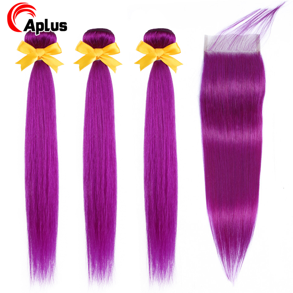 Aplus Hair Ombre Human Hair Bundles With Closure Purple Straight Brazilian Remy Hair 3 Bundles With Closure With Baby Hair