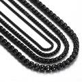 Мужские 2/3/4/5 мм цепочки для ожерелья из нержавеющей стали, черная круглая коробка, звено цепи, ожерелья для мальчиков, оптовая продажа ювели...