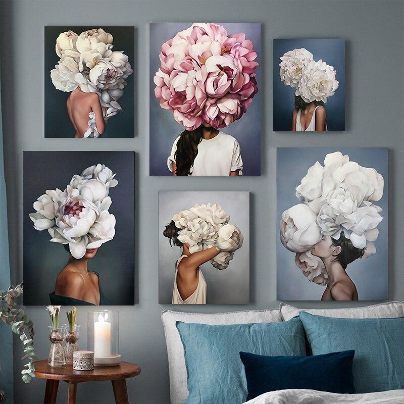 Nordic โมเดิร์นดอกไม้หญิง Feather บทคัดย่อแฟชั่นสไตล์ภาพวาดผ้าใบ Art พิมพ์ภาพโปสเตอร์ภาพผนังห้องนั่...