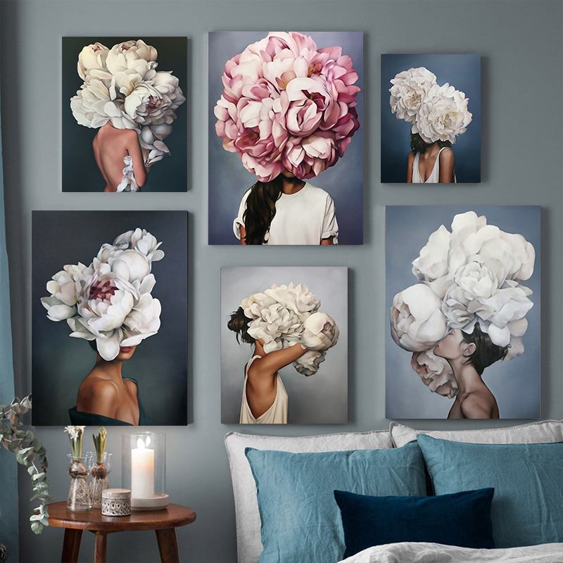 >Nordic <font><b>Modern</b></font> Floral Feather Woman Abstract Fashion <font><b>Style</b></font> Canvas Painting Art Print Poster Picture Wall Living Room <font><b>Home</b></font> Decor