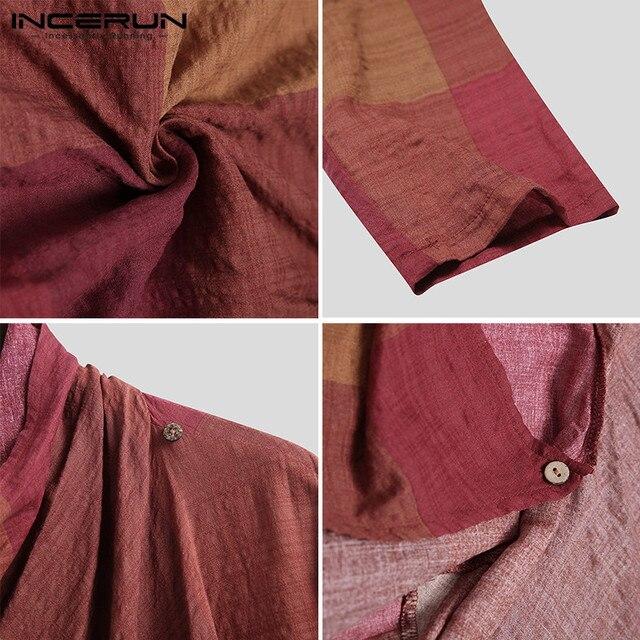 INCERUN Men Coats Turtleneck Plaid Cotton Long Sleeve Trench Ponchos Vintage Streetwear 2021 Casual Irregular Outerwear Cloak 6