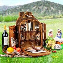 Bolsa de Picnic portátil mochila de camping con cubiertos bolsa de refrigerador cubiertos juego de picnic para 4 bolsas de Camping con manta