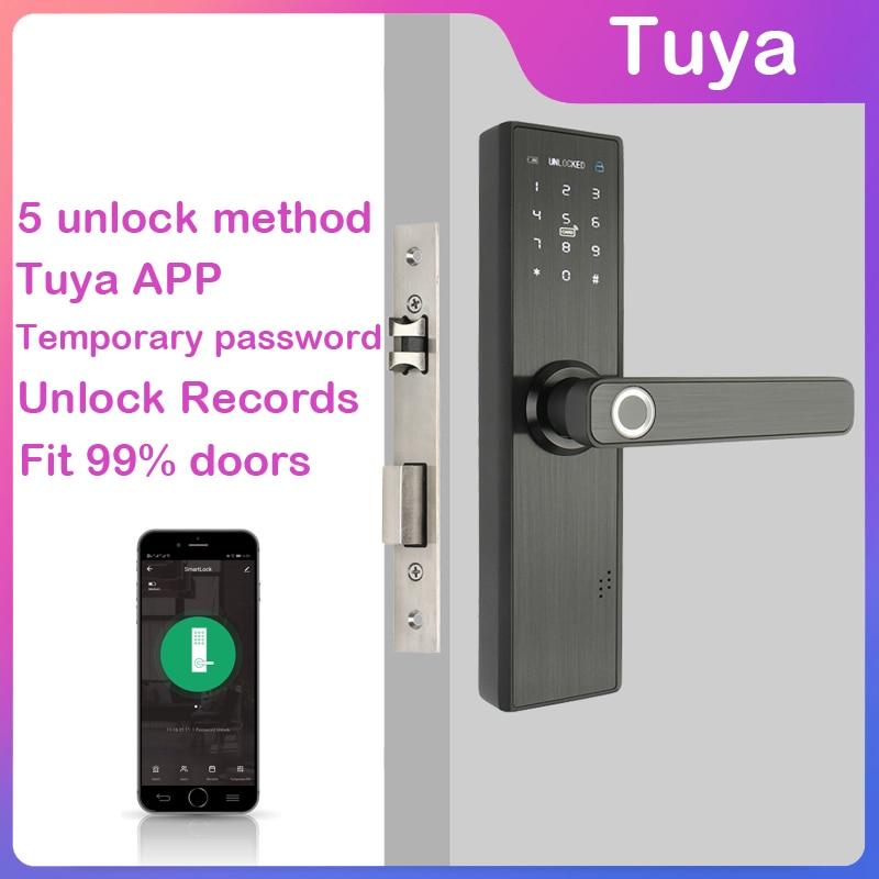 H867914fda8804d1f83f1de618da95230Z Wifi Tuya Phone APP Remotely Biometric Fingerprint Door Lock IC Card Digits Code For Office / Homestay / Hotal Lock