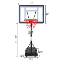 US Portable Movable Swimming Pool Indoor Basketball Stand (Basket Adjustment Height 1.15m-1.35m) Maximum Applicable For 7 # Ball