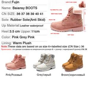 Image 5 - Fujin Vrouwen Winter Laarzen Platform Roze Vrouwen Laarzen Lace Up Casual Enkellaarsjes Laarsjes Ronde Vrouwen Schoenen Winter Sneeuw Laarzen enkel