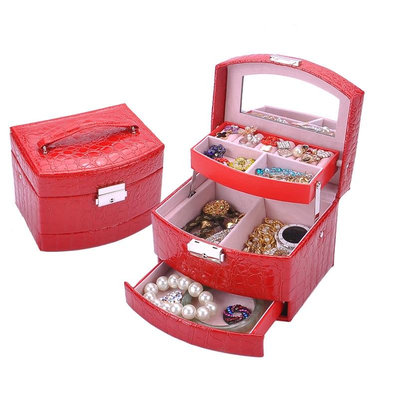 Topinn multicamadas caixa de jóias de couro automático caixa de armazenamento de três camadas para mulheres brinco anel organizador de cosméticos caixão vermelho|Cestos e caixas de armazenamento|   - AliExpress