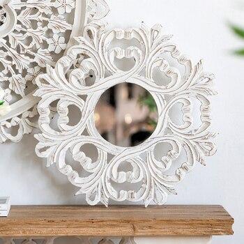 Miroir Classique en relief palais blanc sculpté