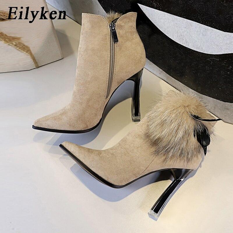 Eilyken Fashion Quality Women Winter Fur Flock High Heels Ankle Booties Female  ZIP Pointed Toe Sexy Dress Short Boots