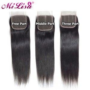 Image 5 - Malezya düz saç demetleri ile kapatma Remy insan saçı postiş dantel kapatma ile 3 demetleri örgü kapatma ile kapatma