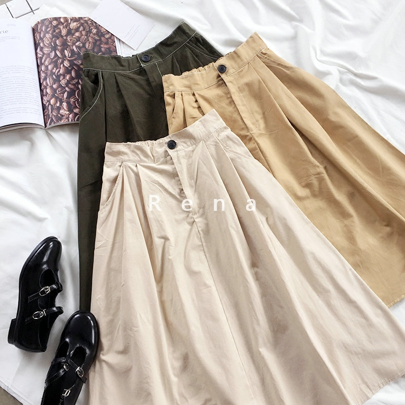 Harajuku Vintage High Waist Skirt Women Casual Loose A-line Maxi Skirt Female Fashion Green Khaki Spring Bottoms