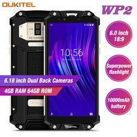 OUKITEL WP2 4G Android 8.0 Smartphone 6.0 Inch Phablet MT6750T 4GB RAM 64GB ROM NFC Waterproof Shockproof 10000mAh Mobile Phone