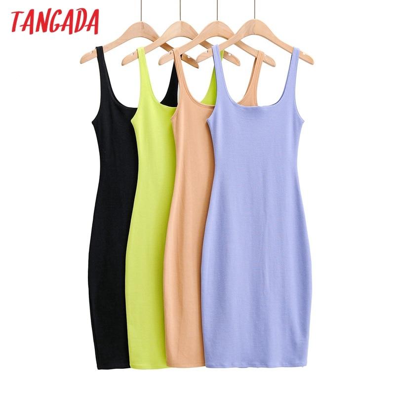 Tangada 2020 women candy color strethy midi dress strap sleeveless backless females dresses vestidos 4P4