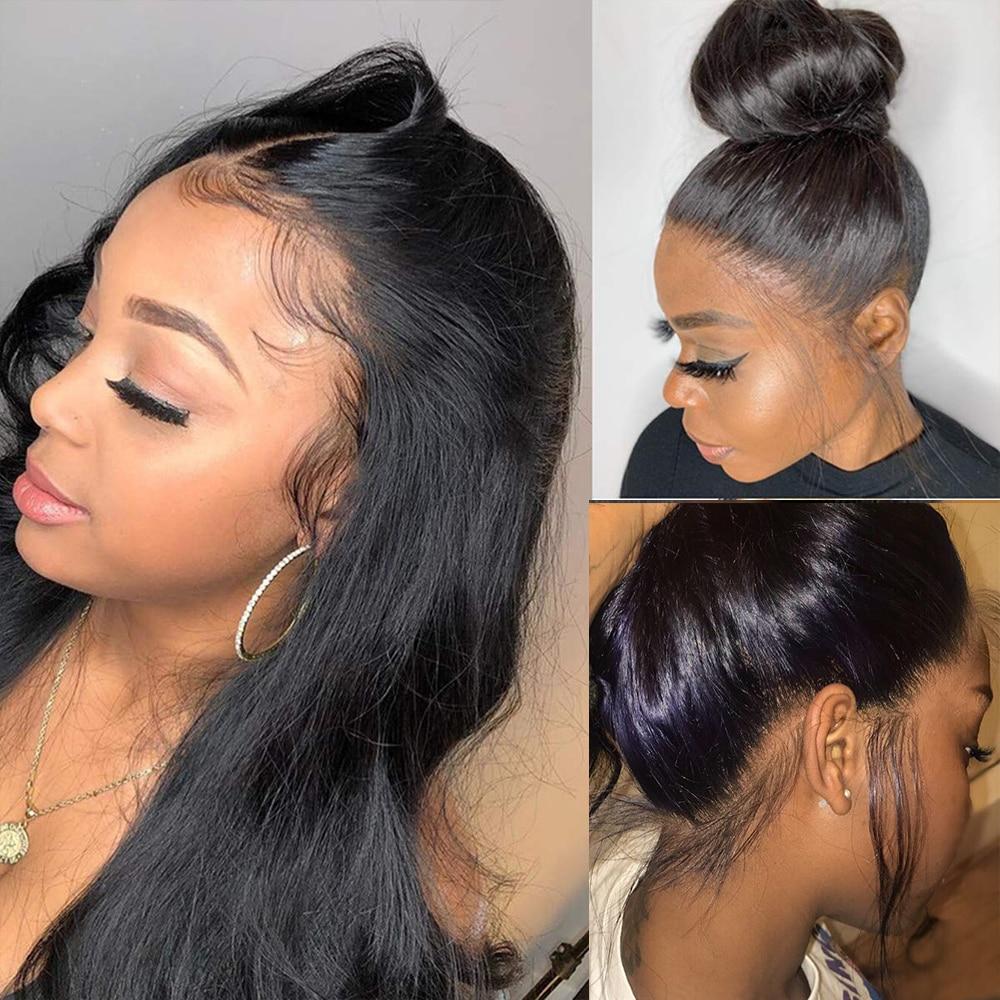 Парики из натуральных волос на 360 градусов, прямые парики для черных женщин, Hd Бразильские Длинные парики, прямые парики на фронте шнурка 360, ...