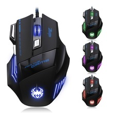 e 3lue m668 optical gaming mouse black blue USB Mouse Wired Gaming 5500 DPI Optical 7 Buttons Game Mice For PC Laptop Computer E-sports 1.5M Cable USB Game Wire Mouse