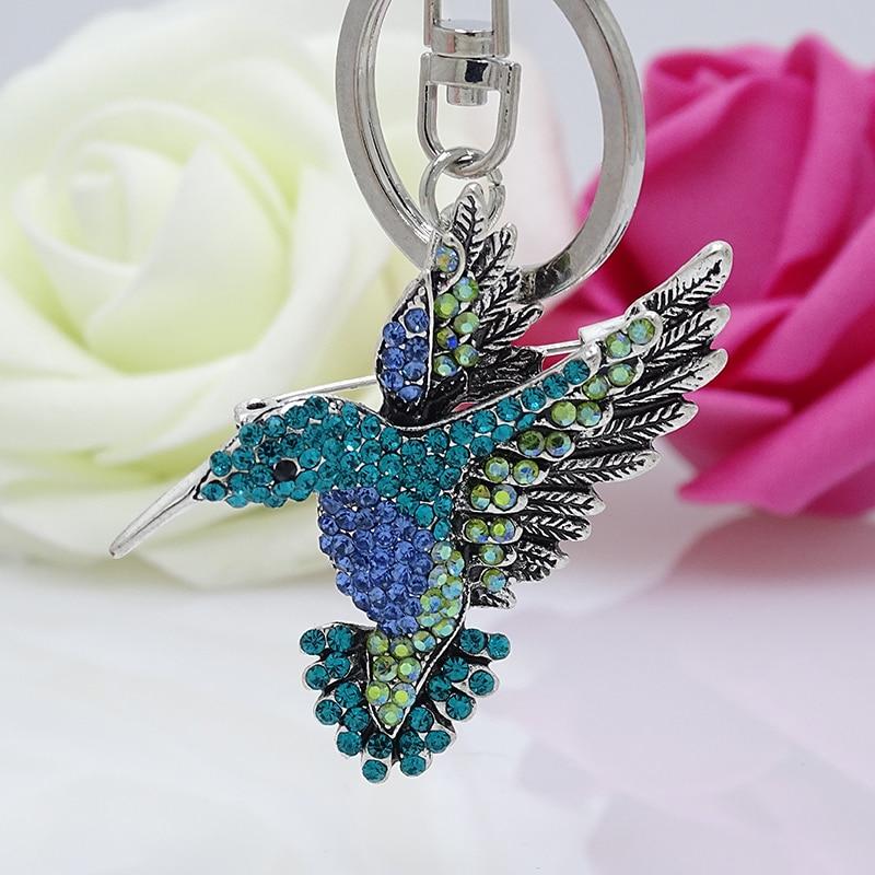 XDPQQ Fashion Animal Keychain Czech Color Rhinestone Cute Hummingbird Key Chain Multi-function Clothing Accessories Couple Gift