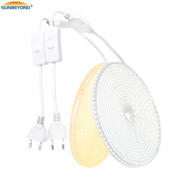 Taśma LED Light 220V 2835 wodoodporna taśma led o wysokiej jasności 120 leds m elastyczna kuchnia zewnętrzna lampa ogrodowa LED z przełącznikiem tanie i dobre opinie SUNBEYOND CN (pochodzenie) ROHS SALON 60000 PRZEŁĄCZNIK Taśmy Edison 3200K 6000K 220 v Smd2835 220v-2835-120 120LEDs m
