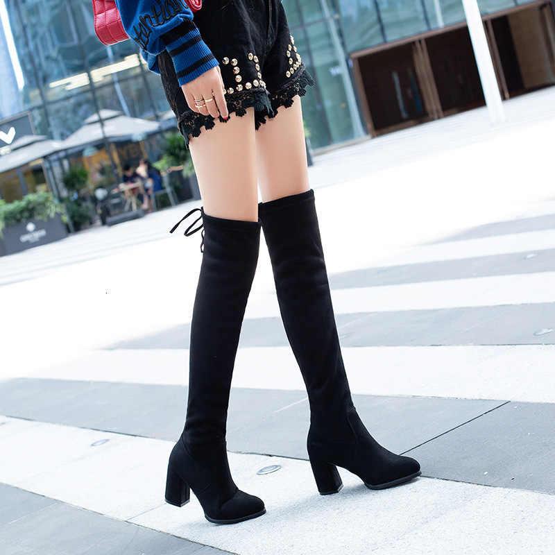Giày Bốt Nữ Đầu Gối Cao Người Phụ Nữ Kích Thước Giày Nữ Giày Nữ Giày Cao Chân Mỏng Chân Co Giãn Dài Giày