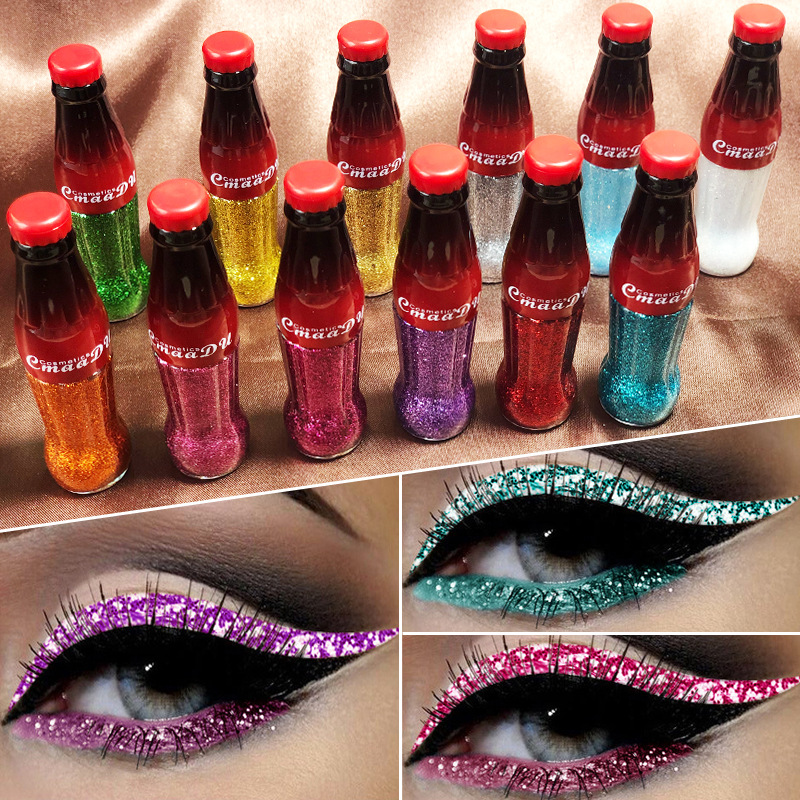 12 Color Professional Shiny Eye Liners Glitter Makeup Eyeliner Gel Waterproof Liquid Eye Liner Long Lasting Quick Dry Cosmetic
