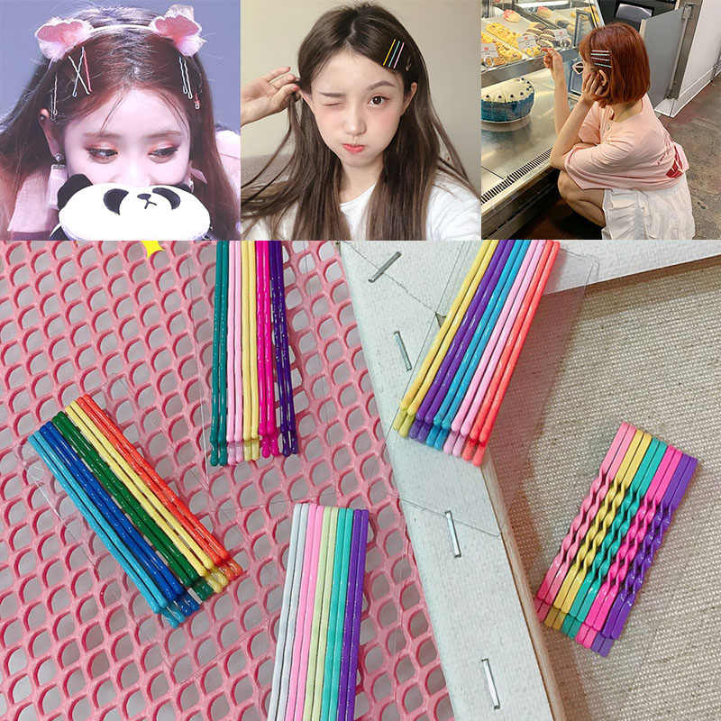 10PCS/Lot Korean Style Candy Solid Color Hairgrips Barrettes Girls Cute Hairpins Colorful Hair Accessories