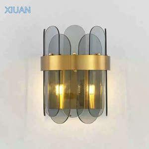 Постмодерн, стеклянный настенный светильник, дымчато-серый, белый, стеклянный бра G9, светодиодный настенный светильник для спальни, прикров...