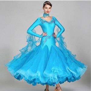 Image 5 - white ballroom dress long sleeves waltz dresses for ballroom dancing foxtrot dance dress standard ball dress sequins dance wear