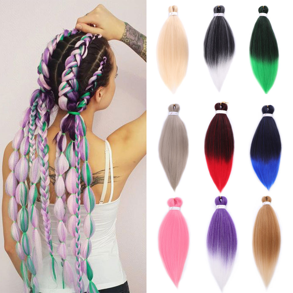 Buqi  Black  Pink Purple Blue Blonde Color Synthetict  Braiding Hair Extension 26