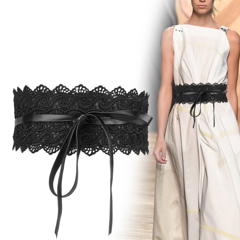 Korean-style Lace Tassels Chiffon Shirt Accessories Slim Fit Slimming Dress Wide Girdle Black (Women's) Wide Lace Belt