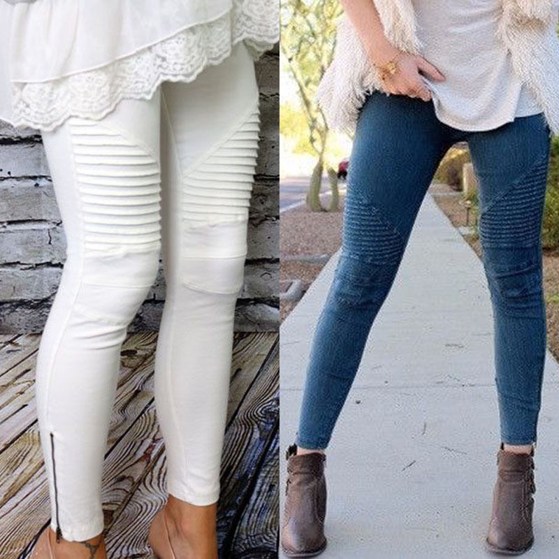 Women Casual Slim Fit Skinny Jeans Cotton High Waist Long Pants Cool Pleated Distressed Stretchy Denim Pencil Trousers