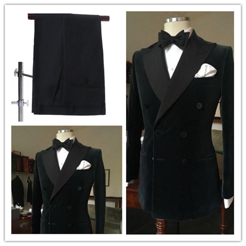 2019 Fashion Black Double Breasted Slim Groom Wedding Prom Suits For Men Custom Made Velvet Men's Tuxedo Wedding Suits