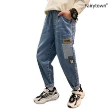Korean Boys Spring Jeans for Teen Pants 2021 Vintage Straight Trousers Baggy Belt Jeans Children Boy Long Pants Clothing 12 14 cheap FairyTown Casual CN(Origin) Fits true to size take your normal size 7282 Elastic Waist Letter Regular Light 120cm 130cm 140cm 150cm 160cm 170cm