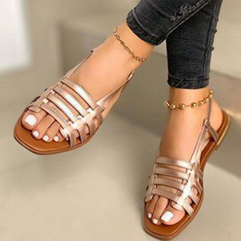 2020 sandalias de mujer gladiador de Punta abierta Casual zapatos de playa de mujer ahuecados planos de mujer calzado de verano al aire libre talla grande 1