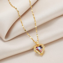 2021 Luxury Heart Of Ocean Crystal Pendant Stainless Steel Necklace For Women Exquisite Zircon Clavicle Chain Wedding Jewelry