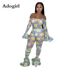 Adogirl Sheer Mesh Night Club Party Jumpsuit Sexy Women Slash Neck See Through Ruffles Floral Print Jumpsuit Combinaison Femme mesh panel floral embroidered split jumpsuit