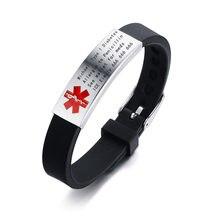Vnox Engravable Medical Alert ID Armband DIABETES EPILEPSIE ALZHEIMER'S ALLERGIE SOS Frauen Männer Personalisierte Schmuck