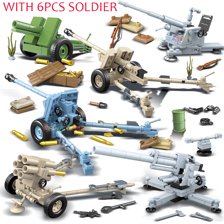 6PCS Army WW2 German Artillery With Soldiers Figures Building Blocks Compatible Legoed Military World War 2 Vehicles Weapons Gun