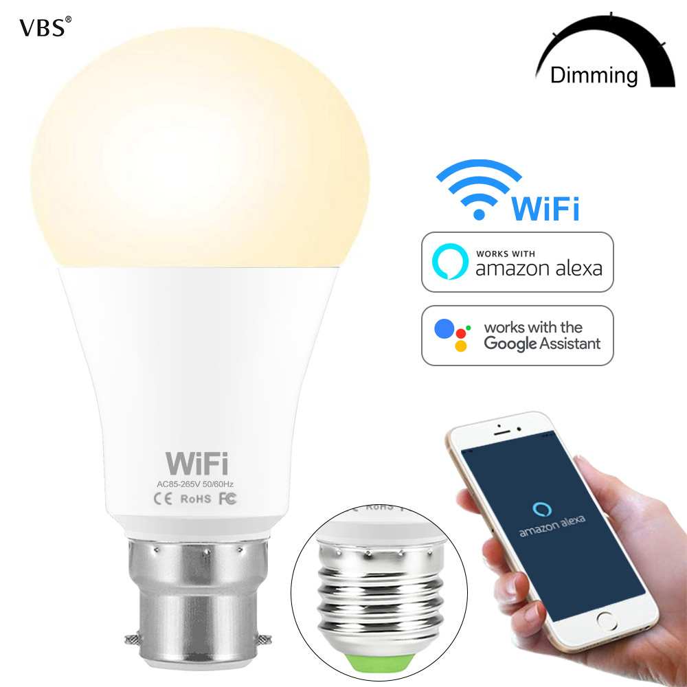 Smart Bulb WIFI Dimmable Brightness Light LED Bulb 15 W E27 B22 Amazon Alexa Google Home  IOS/Android Remote Control LED Lamp