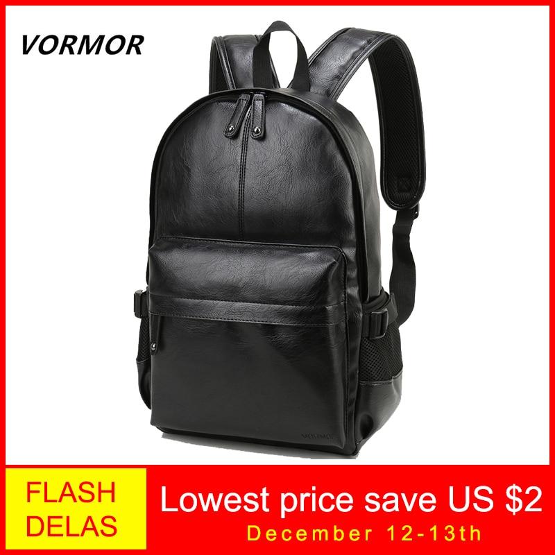 VORMOR Brand Men Backpack Leather School Backpack Bag Fashion Waterproof Travel Bag Casual Leather Book Bag Male