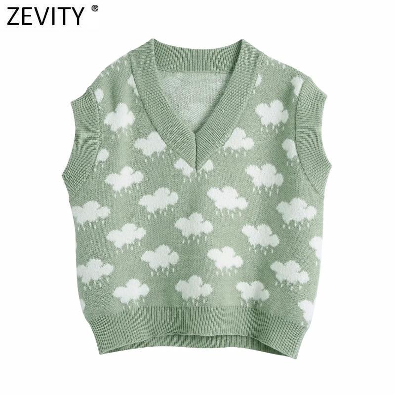 Zevity Women Fashion V Neck Cloud Pattern Knitting Sweater Female Sleeveless Casual Slim Vest Chic Leisure Pullovers Tops S669 3