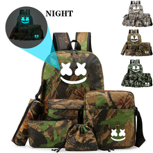 BPZMD 5pc/set DJ backpack For Teenagers Boys Girl School Bag Set Student Backpack Luminous Anti-theft Back To
