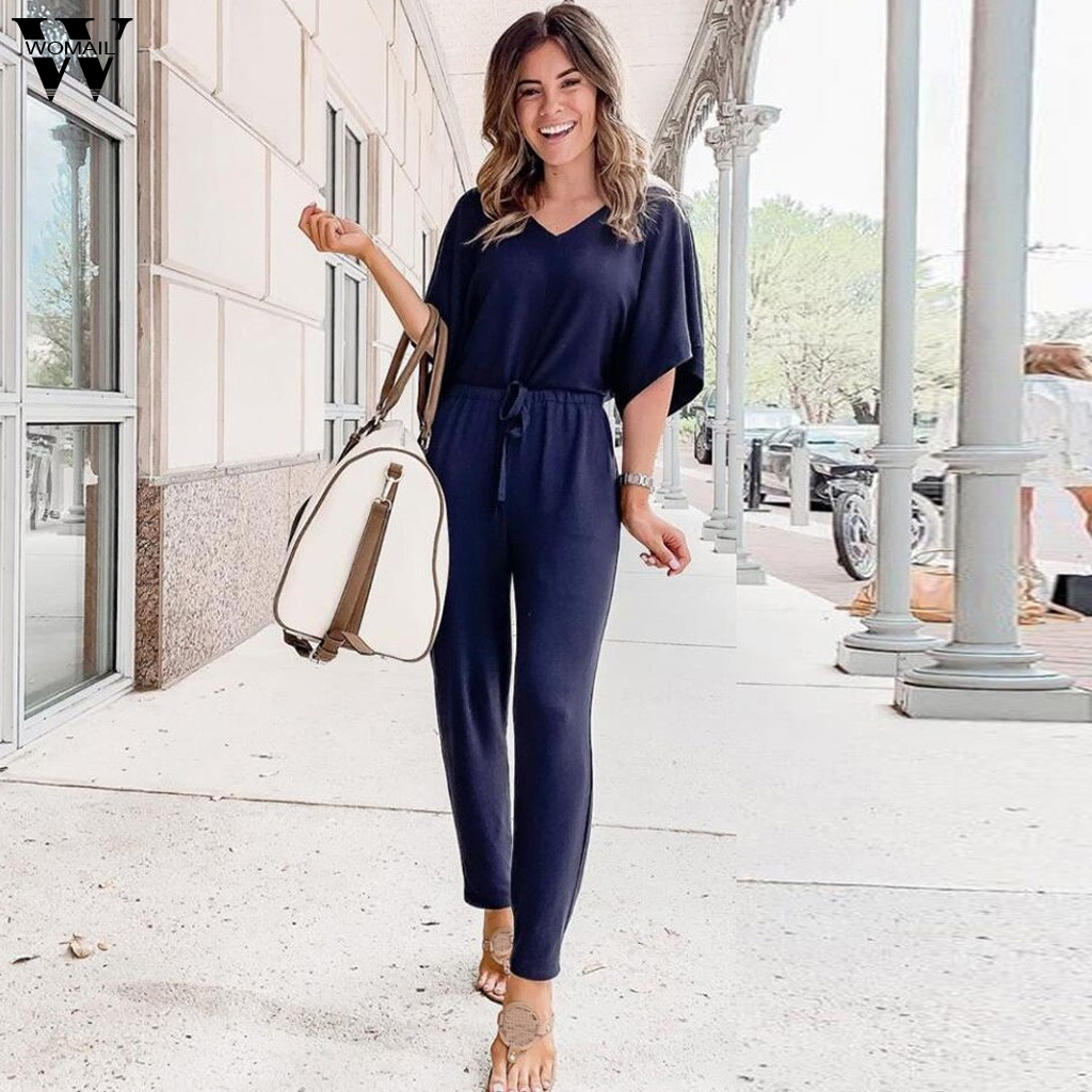 Women Jumpsuit Summer Short Sleeve Playsuit Long Pant Bodycon Solid Backless V Neck Party Jumpsuit Romper Trousers Office Club
