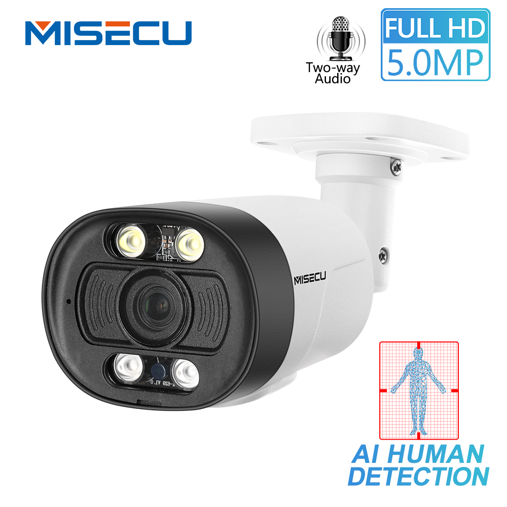 MISECU H.265 Super HD 5MP Two-way Audio Security POE IP Camera Human Detection Outdoor Waterproof AI Camera ONVIF For POE NVR