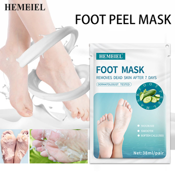 HEMEIEL Cucumber Hydrating Foot Peel Masks For Skin Removal Calluses Exfoliating Heel Socks Whitening Tender Feet 1Pair=2PCs 1