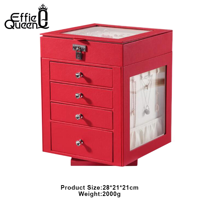 Effie Queen 28 21 21cm 5 Layer Rotatable Pu Leather Large Jewelry Storage Box Ring Earring