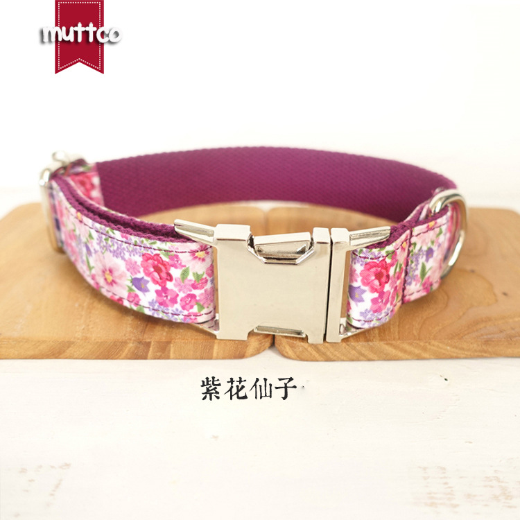 New Products Pet Purple Pattern Dog Collar Metal Buckle Durable Dog Collar Dog Collar Pet Supplies New Style
