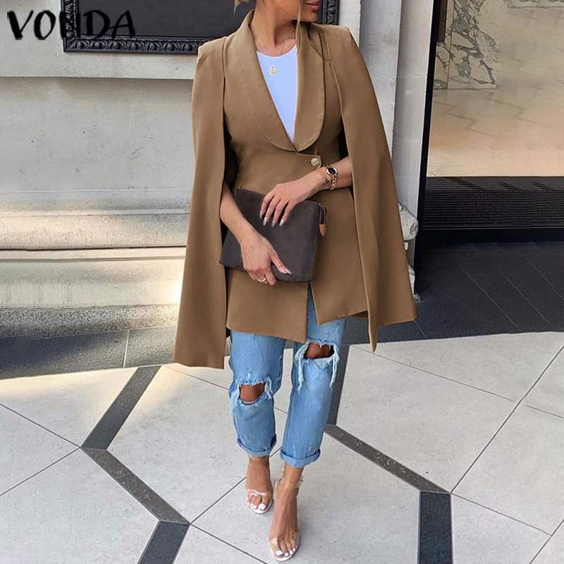 VONDA Women Blazers Shawl Sleeve Solid Color Work Office Business Blazer Coats 2020 New Autumn Female Suits Plus Size