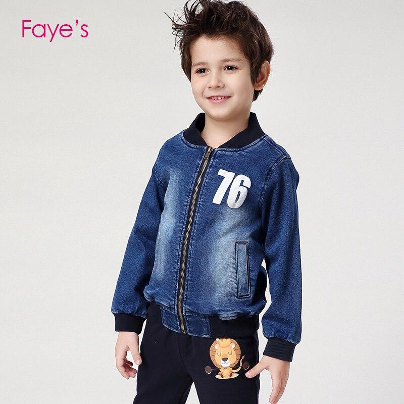 4-12 ans garçon mode Denim Bomber Jecket imprimer manteau enfants vêtements enfants vêtements