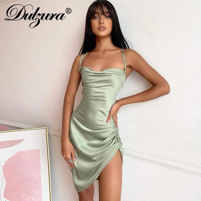 Dulzura Satin Women Strap Mini Dress Ruched Lace Up Cross Bandage Backless...